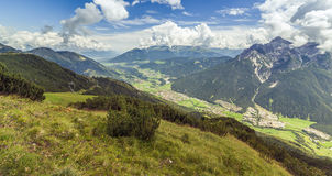 Mountain landscape with trail, green meadow and forest Stock Photos