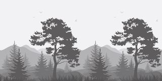 Mountain landscape with trees and birds. Seamless, mountain landscape with pines, conifer trees, birds and grass, gray silhouettes. Vector Royalty Free Stock Photo