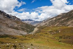 Mountain landscape in Upper Mustang, Nepal Stock Photo