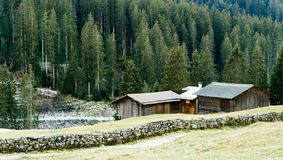 Mountain landscape and valley with forest and an old rock wall with wooden huts and chalets behind. In the Sardasca Valley near Klosters in the Swiss Alps royalty free stock photos