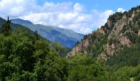 Mountain landscape. Valley in Karachay-Cherkessia, on the northern slopes of the Greater Caucasus. Photo taken on:  July 27 Saturday, 2013 Stock Photo