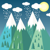 Mountain landscape. Mountain vector landscape, background. Clouds, snow Stock Photography