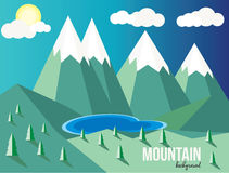 Mountain landscape. Mountain vector landscape background. Mountain lake Royalty Free Stock Photo