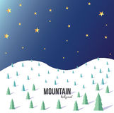 Mountain landscape. Mountain vector landscape background. Snow, trees Royalty Free Stock Image