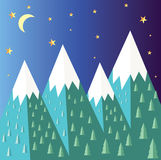 Mountain landscape. Mountain vector landscape background. Stars, moon Royalty Free Stock Photography
