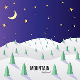 Mountain landscape. Mountain vector landscape background. Stars, moon Stock Photo