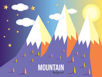 Mountain landscape. Mountain vector landscape background. Stars, sunset Stock Photo