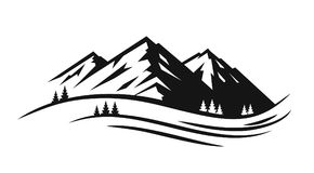 Mountain and landscape vector. Black on white background Stock Photo