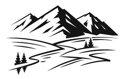 Mountain and landscape vector. Black on white background Stock Photos