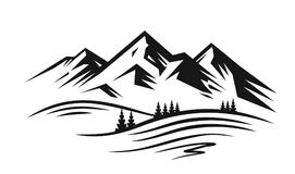 Mountain and landscape vector. Black on white background Royalty Free Stock Photos
