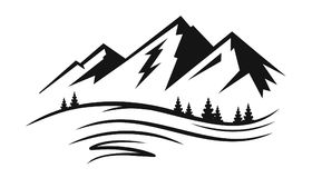 Mountain and landscape vector. Black on white background Stock Images