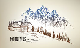 Mountain landscape vector. Hand drawn vector illustration of mountain landscape Stock Image
