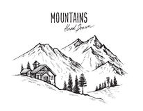 Mountain landscape vector. Hand drawn vector illustration of mountain landscape Stock Photos