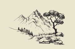 Mountain landscape vector. Hand drawn vector illustration of mountain landscape Royalty Free Stock Photos