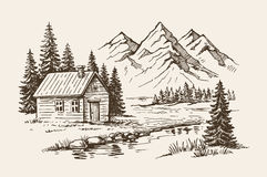 Mountain landscape vector. Hand drawn vector illustration of mountain landscape Stock Images