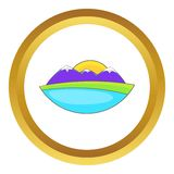 Mountain landscape vector icon. In golden circle, cartoon style isolated on white background Stock Images
