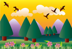 Mountain landscape. Vector image of a mountain landscape in spring Royalty Free Stock Photography