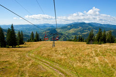 Mountain landscape. View from chairlift. Royalty Free Stock Photo