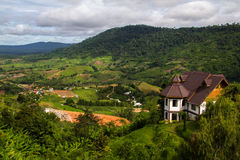 The mountain landscape view at Khao Kho, Thailand. The mountain landscape view in the cloudy day at Khao Kho, Thailand royalty free stock image