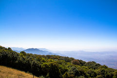 The mountain landscape view in the morning. The mountain landscape view in the morning is filling freshness and beautiful natural at Chaing Mai, Thailand Royalty Free Stock Photo