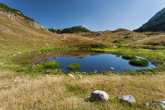 Mountain landscape with a view on pond Stock Image
