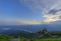 Mountain landscape. View at sunset on the Orta Lake from Mottarone mount, Italy Royalty Free Stock Photos
