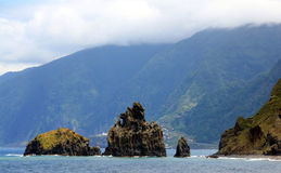 Mountain landscape. The volcanic rocks in the ocean. Island Madeira royalty free stock images
