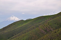 Mountain landscape and volcano Ararat. Armenia. Mountain landscape with the volcano Ararat. Armenia Royalty Free Stock Photos