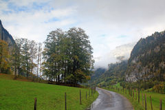 Mountain landscape with walking path in autum with first snow in Switzerland. View at mountain landscape with walking path in  autumn with first snow on the high Stock Image