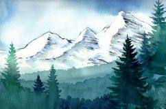 Mountain landscape. Watercolor sketch of a mountain landscape Royalty Free Stock Images