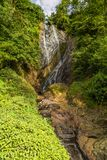 mountain landscape with a waterfall stock image
