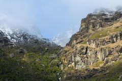 Mountain landscape with waterfall in the middle Royalty Free Stock Image