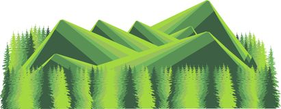 Mountain landscape on white. Green fir forest and hills. Modern flat design, design elementMountain landscape on white. Green fir Stock Photo