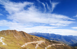 Mountain landscape with white sutra streamer scattered on the gr Royalty Free Stock Images
