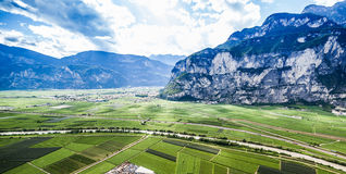 Mountain landscape with wineries in Trento, Italy. Wine production is one of the main industries in this area Royalty Free Stock Image