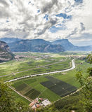 Mountain landscape with wineries in Trento, Italy. Wine production is one of the main industries in this area Stock Photos