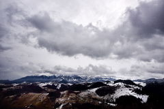 Mountain landscape in winter  cloudy day Royalty Free Stock Photo