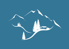 Mountain landscape in winter vector illustration