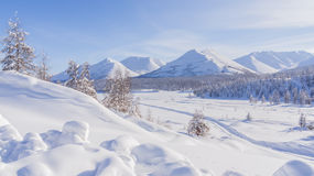 Mountain landscape. In the winter in the Magadan region Royalty Free Stock Photography