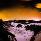 Mountain landscape in winter by night Stock Images