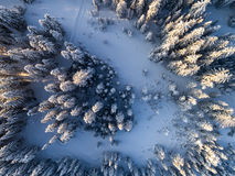 Mountain landscape in winter season. Aerial view on the mountain landscape in winter season Stock Photography