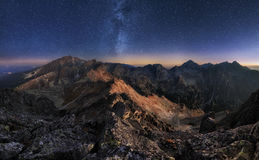 Free Mountain Landscape With Night Sky And Mliky Way, Slovakia Tatras From Peak Slavkovsky Stit Royalty Free Stock Photo - 77423515