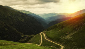 Mountain Landscape With Road In A Summer Day Royalty Free Stock Photography