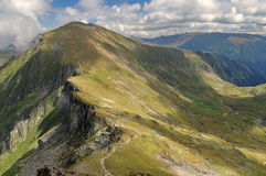 High altitude. Summer landscape in Fagarasi Mountains, landmark attraction in Romania Stock Image