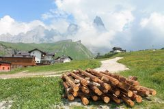 Mountain landscape with wood and clouds. Mountain lanscape of trentino region photographed during a trekking day stock photo