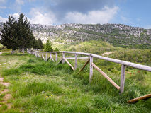 Mountain landscape with wooden fence Stock Photography