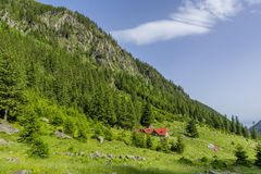 Mountain landscape with wooden mountain chalet in Carpathians Stock Image