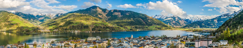 Mountain landscape with Zeller Lake in Zell am See, Austria Royalty Free Stock Images