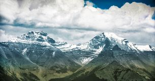 Mountain landscape, Canadian Rockies. Mountain landscapes in Banff National Park. ominous skies, sheer mountains walls, deep valleys royalty free stock images