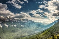 Mountain landscape, Canadian Rockies. Mountain landscapes in Banff National Park. ominous skies, sheer mountains walls, deep valleys stock images
